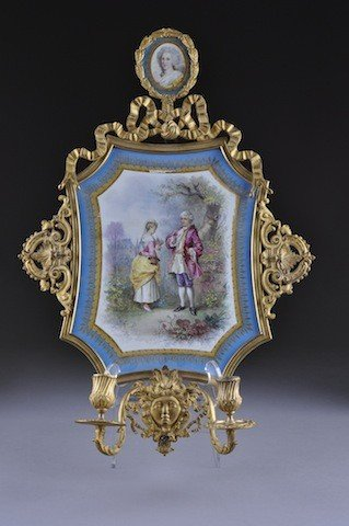 1: A SÈVRES STYLE PORCELAIN AND GILT BRONZE TWO-LIGHT W