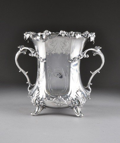3: A FINE EARLY VICTORIAN SILVER PLATED WINE COOLER, CI