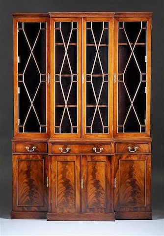 17: A GEORGE III MAHOGANY BREAKFRONT BOOKCASE CABINET,
