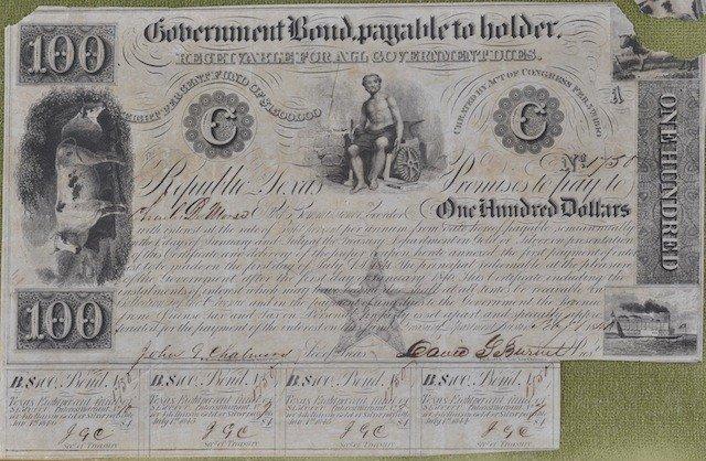 19: DAVID G. BURNET (1788-1870), GOVERNMENT BOND, SIGNE