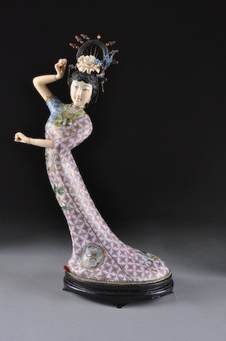 21: A CHINESE CLOISONNÉ AND IVORY MAIDEN, 20TH CENTURY,