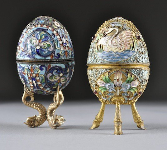 56: A RUSSIAN COLORFULLY ENAMELED AND JEWELED CLOISONNÉ