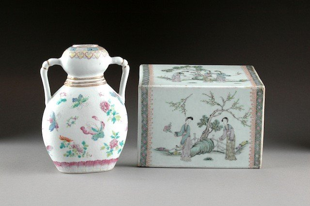 85: TWO CHINESE FAMILLE ROSE PORCELAIN WARES, LATE 19TH