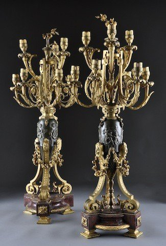 275: A PAIR OF FINE LOUIS XVI STYLE GILT AND PATINATED