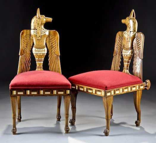 American Furniture Mall Of Egypt: 431: A PAIR OF NICELY CARVED EGYPTIAN REVIVAL FRUITWOOD