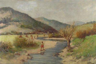 "14: ODON GUZSIK (Hungarian 1902 - 1954) A painting, ""La"