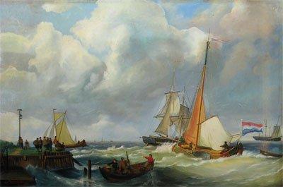 """24: E. WALLER (Dutch - 20th Century) A painting, """"Saili"""