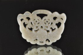 A CHINESE CARVED JADEITE MOTH PENDANT, Of Arched Re