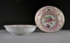 A PAIR OF CONTINENTAL POLYCHROME PAINTED PINK GROUN