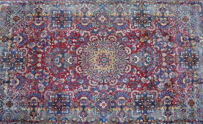 106: A SAROUK CARPET, THE PERSIAN ROSE FIELD centering