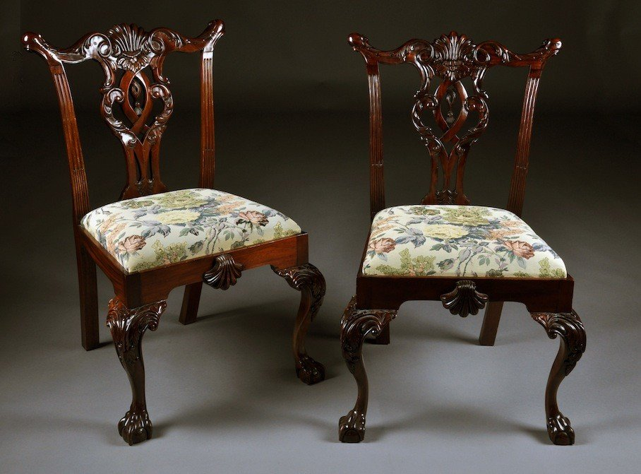 110: A SET OF FOUR MAHOGANY CHIPPENDALE STYLE SIDE CHAI