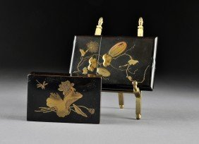 TWO JAPANESE PARCEL GILT BLACK LACQUER ACCESSORIES