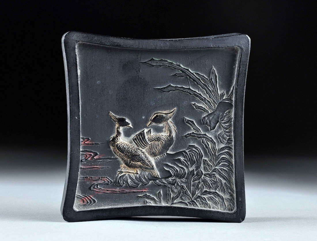 155: A VINTAGE CHINESE CARVED AND MOLDED INK CAKE, FIRS