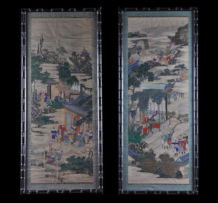 157: TWO VINTAGE CHINESE WATERCOLOR ON SILK PANELS, 20T