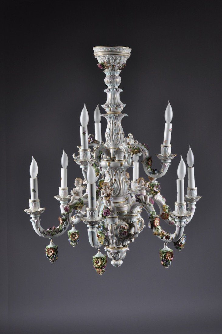 158: A DRESDEN STYLE PORCELAIN ROCOCO TWO TIER CHANDELI