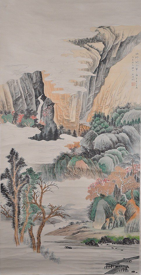 166: A CHINESE MOUNTAINSCAPE WATERCOLOR SCROLL PAINTING