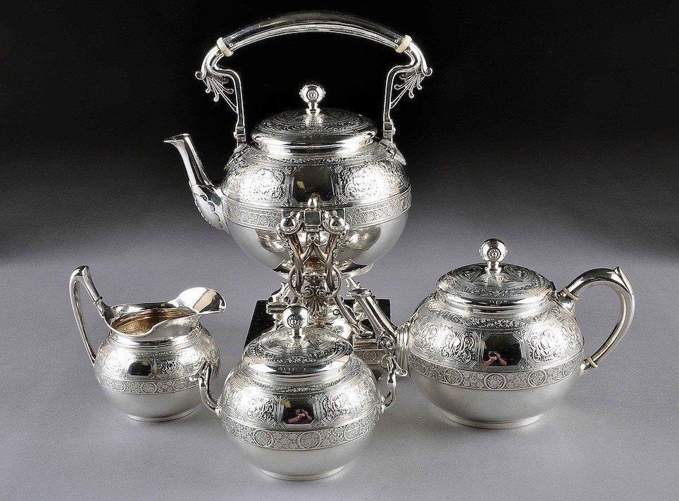 172: AN ANTIQUE FOUR PIECE TIFFANY & CO STERLING COFFEE