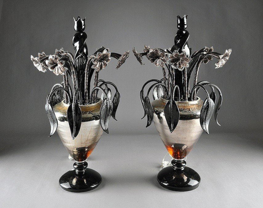 203: A LARGE PAIR OF VENETIAN BLACK AND MIRRORED GLASS