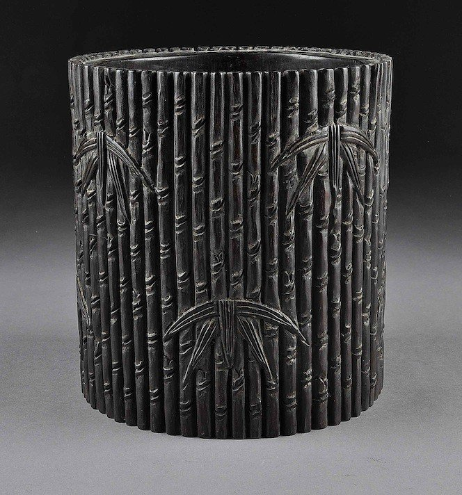 204: A CHINESE CARVED ZITAN BRUSHPOT, BITONG, 20TH CENT