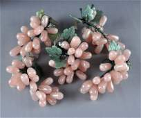 208: A GROUP OF FIVE CHINESE CARVED ROSE QUARTZ GRAPE C