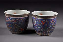 379: A PAIR OF VINTAGE CHINESE FAMILLE ROSE PORCELAIN F
