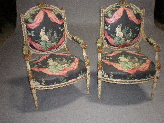 1G: A PAIR OF LOUIS XVI STYLE PARCEL GILT AND PAINTED C