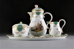 274 AN ASSEMBLED MEISSEN FOUR PIECE POLYCHROME PAINTED