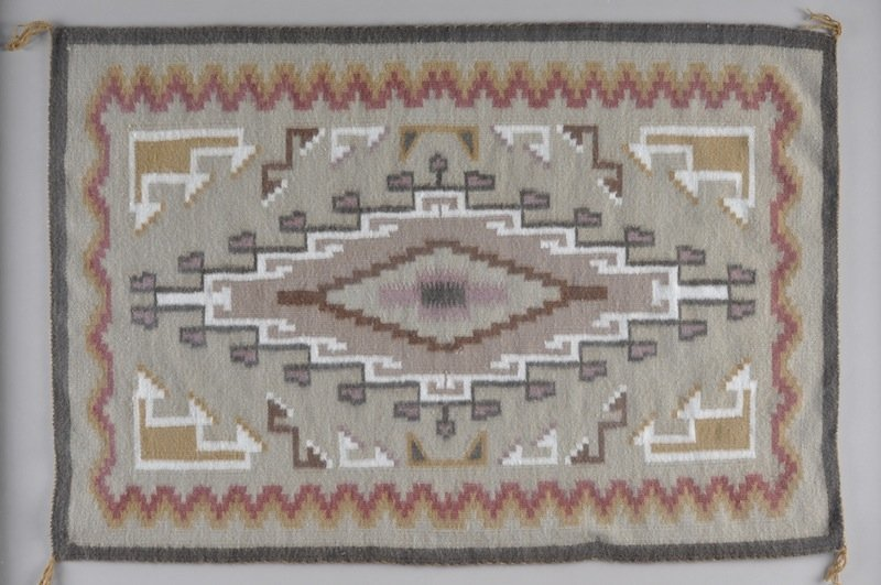 298: A NAVAJO INDIAN TWO GRAY HILL RUG, centering a dou - 2