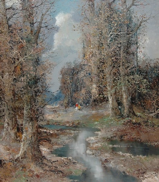 """3: WILLI BAUER (German b. 1923) A PAINTING, """"Wooded Lan"""