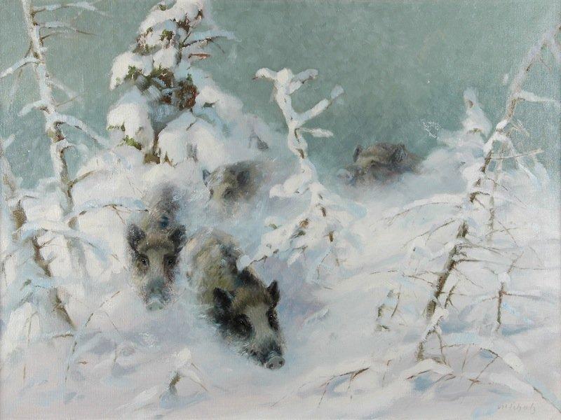 """10: MANFRED SCHATZ (German 1925-2004) A PAINTING, """"Wild"""