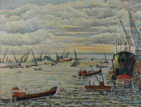 "24: EUROPEAN SCHOOL (20th Century) A PAINTING, ""Harbor"