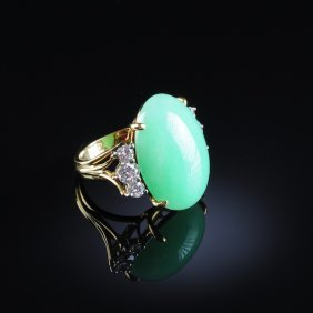 "302: AN 18K YELLOW GOLD, CHINESE ""A"" JADEITE JADE, AND"