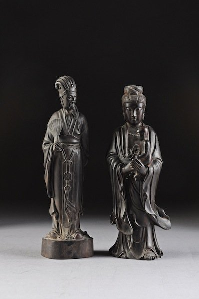 309: TWO CHINESE CARVED HARDWOOD FIGURES OF IMMORTALS,