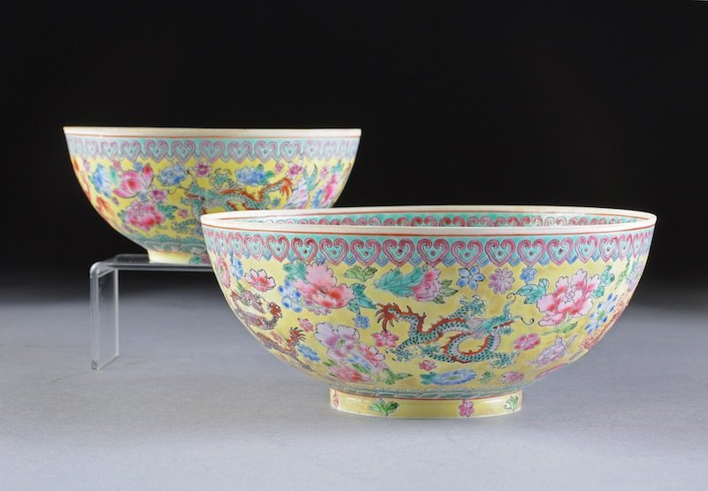 314: TWO CHINESE FAMILLE ROSE YELLOW GROUND ENAMELED EG
