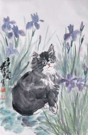 "321: A CHINESE ""CAT"" PAINTED SCROLL, SIGNED, 20TH CENTU"