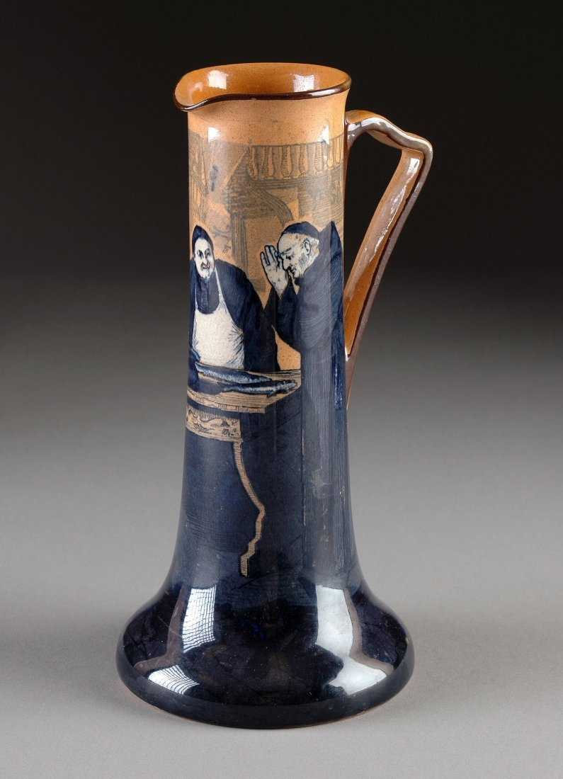 """9:  A ROYAL DOULTON PITCHER IN THE """"MONKS IN THE CELLAR"""
