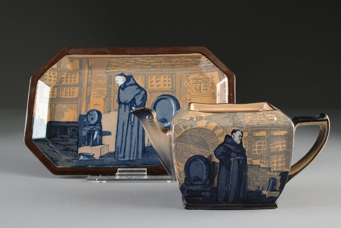 """13:  ROYAL DOULTON TEAPOT AND UNDERPLATE, IN THE """"MONKS"""