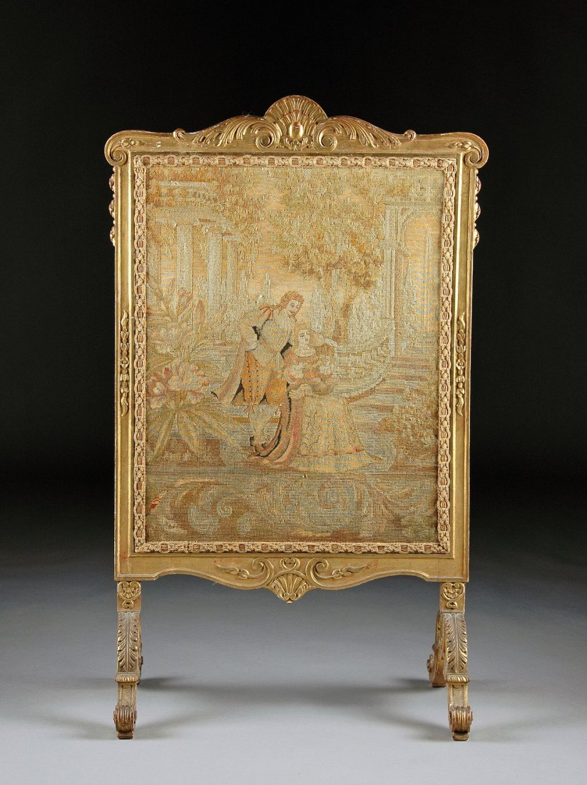 20:  A LOUIS XVI STYLE CARVED GILTWOOD AND NEEDLEPOINT