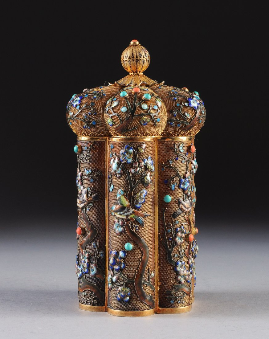 298:  A VINTAGE CHINESE JEWELED AND POLYCHROME ENAMELED
