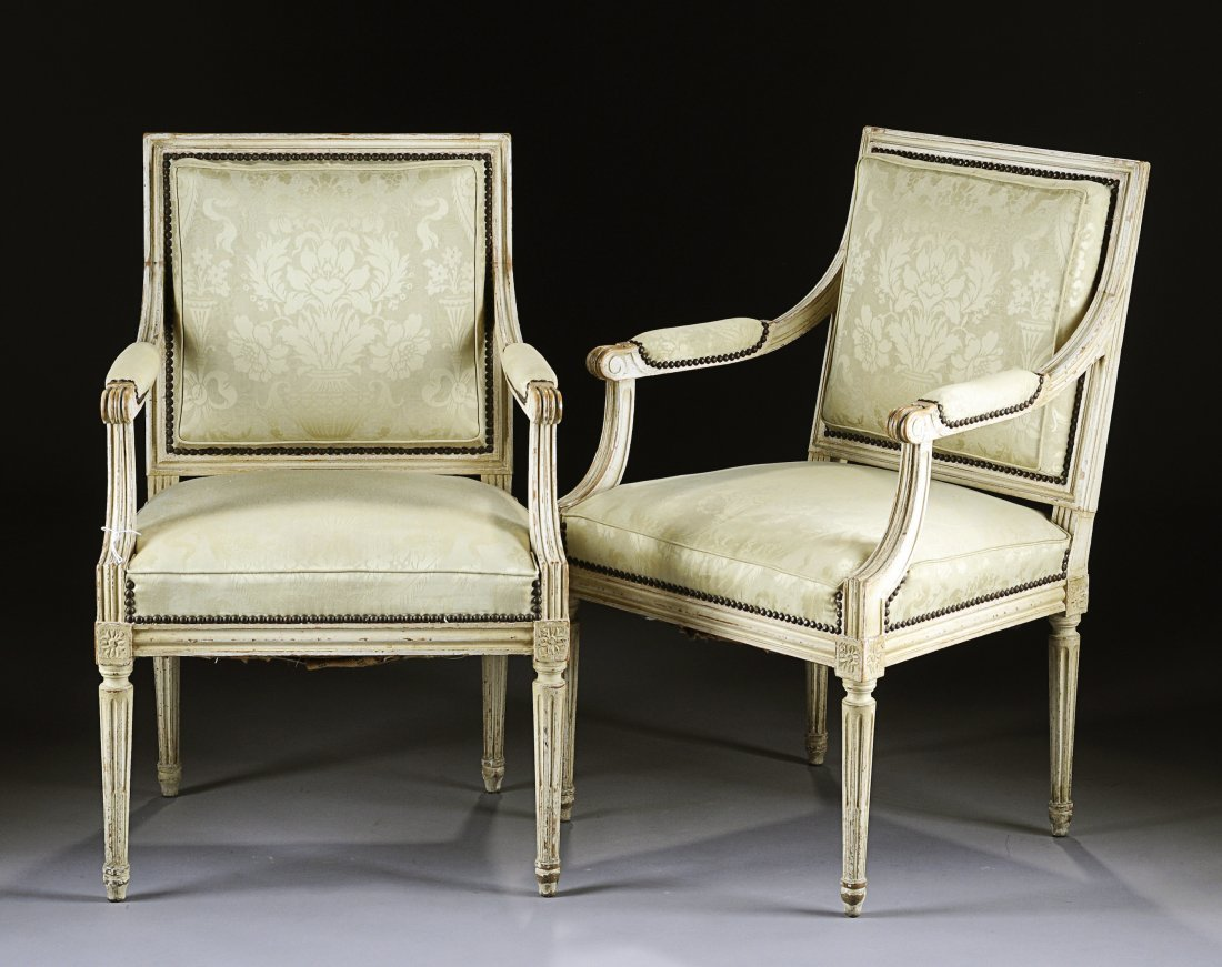 358:  A PAIR OF LOUIS XVI STYLE WHITE PAINTED CARVED WO