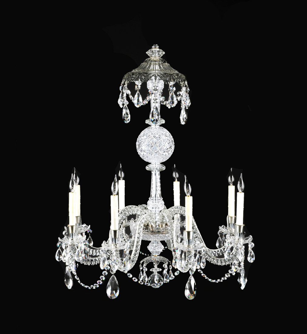 359:  A GEORGE III STYLE CUT CRYSTAL EIGHT-LIGHT CHANDE