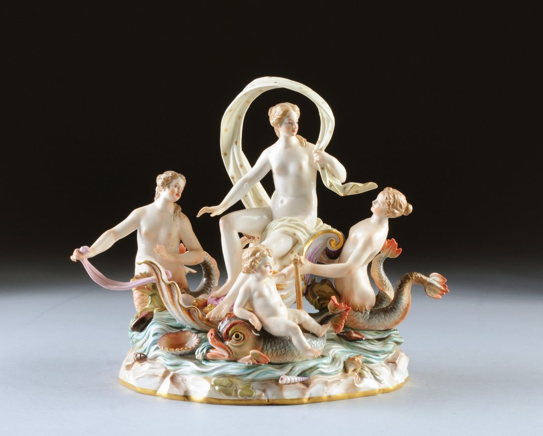 "483:  A MEISSEN ""BIRTH OF VENUS"" FIGURAL GROUP, BLUE CR"