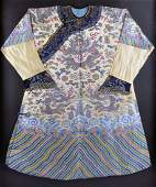 594: A RARE CHINESE IMPERIAL POLYCHROME THREAD EMBROID