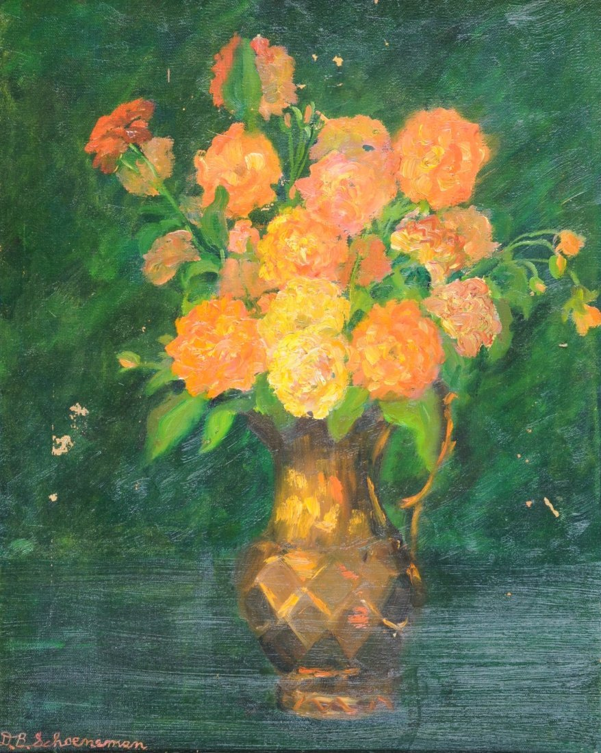 "D.B. SCHOENEMAN (20TH CENTURY) A PAINTING, ""Orange Flor"