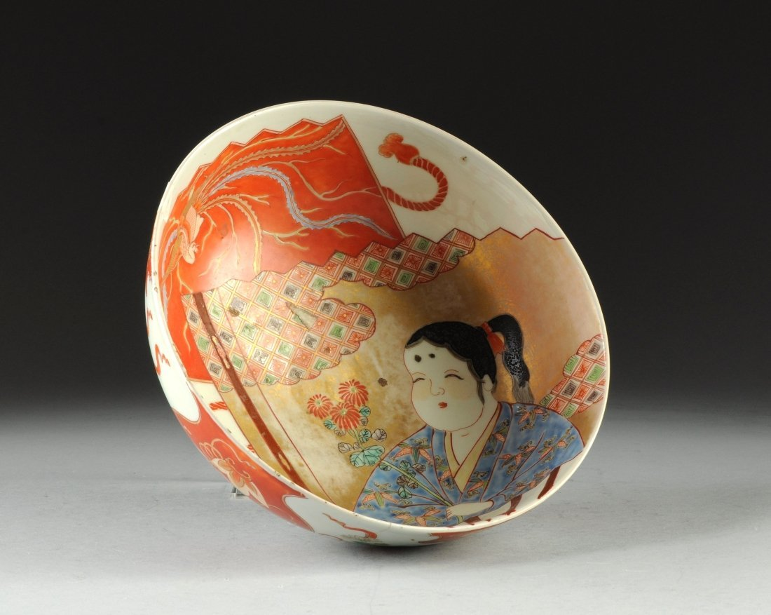 A MEIJI PERIOD JAPANESE KUTANI BOWL, LATE 19TH/EARLY 20