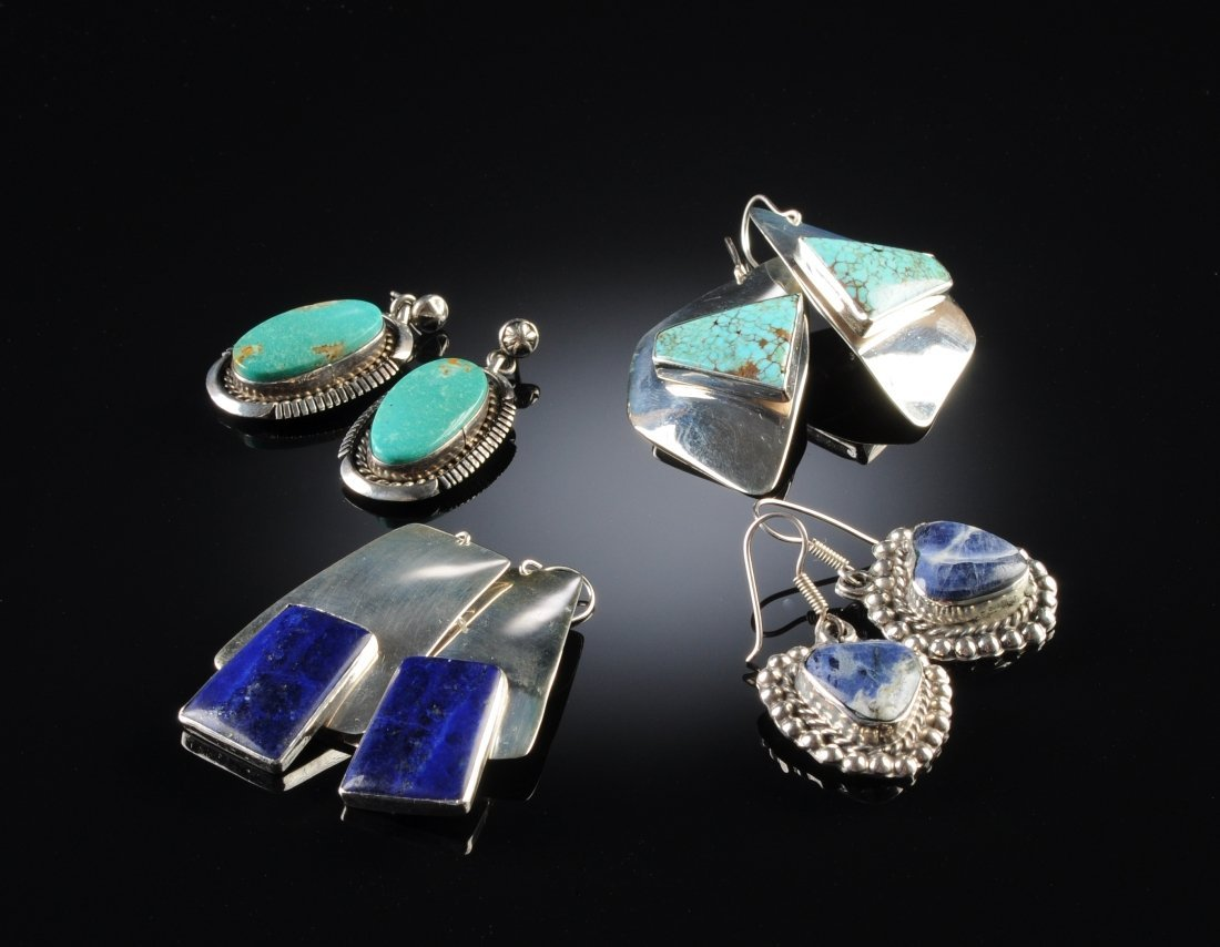 FOUR PAIR SILVER LADY'S EARRINGS. Miscellaneous shapes
