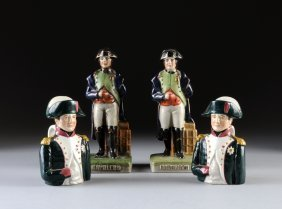 TWO STAFFORDSHIRE STYLE FIGURES OF NAPOLEON TOGETHER WI