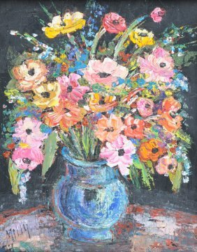 "MILLY (20TH CENTURY) A PAINTING,  ""Floral Still Life,"""