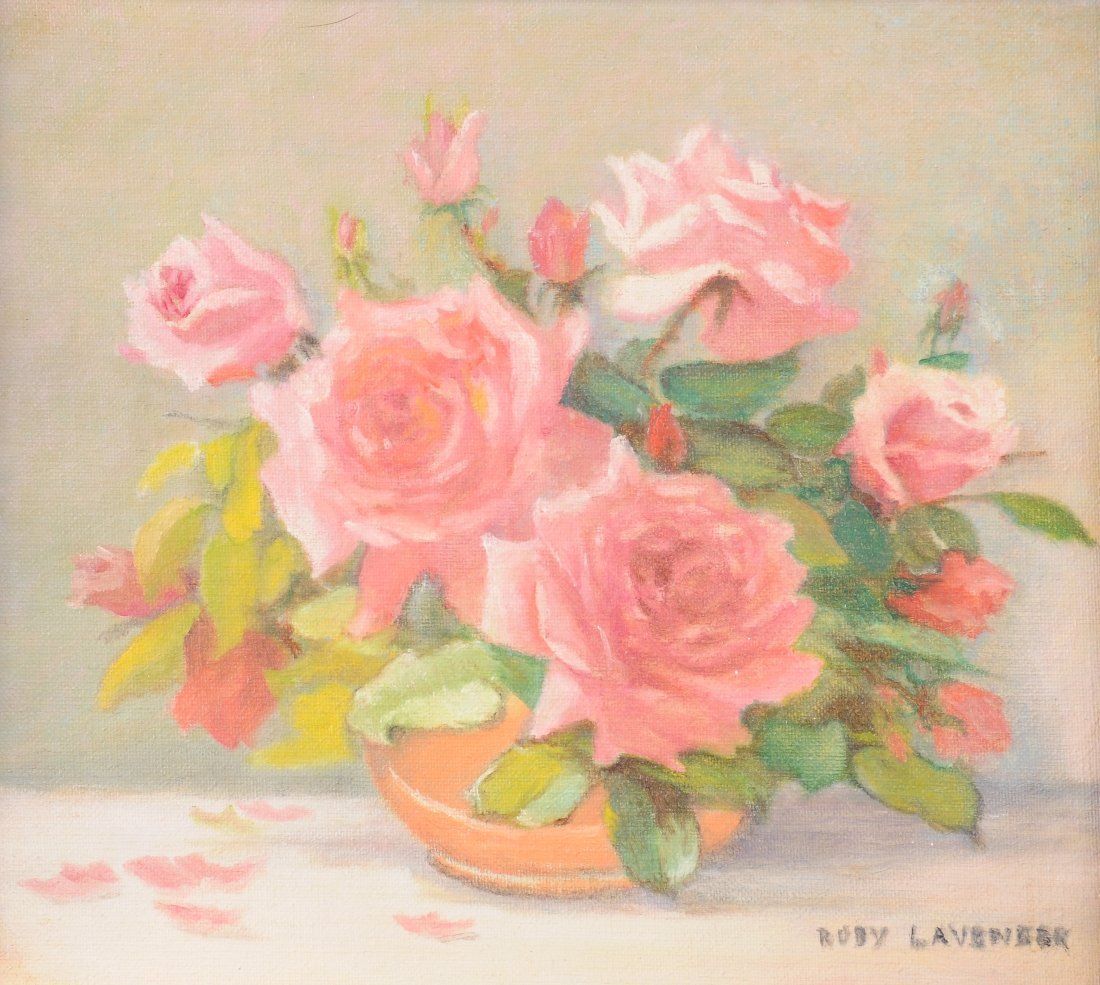 """RUBY LAVENDER (AMERICAN) A PAINTING, """"Pink Roses,"""" oil"""