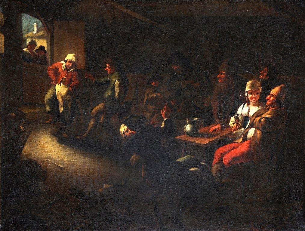 "FLEMISH SCHOOL (19th Century) A PAINTING, ""The Tavern G"